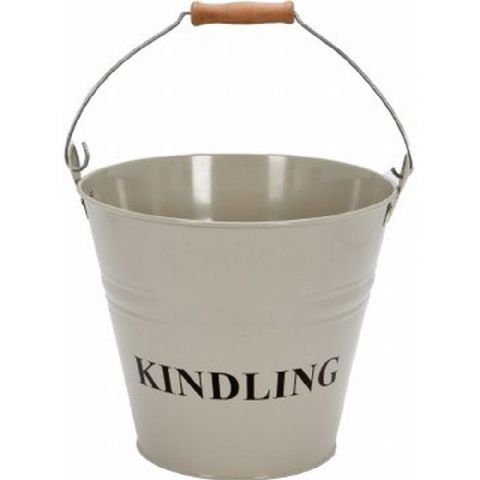 Clay Painted Kindling Bucket Wooden Handle